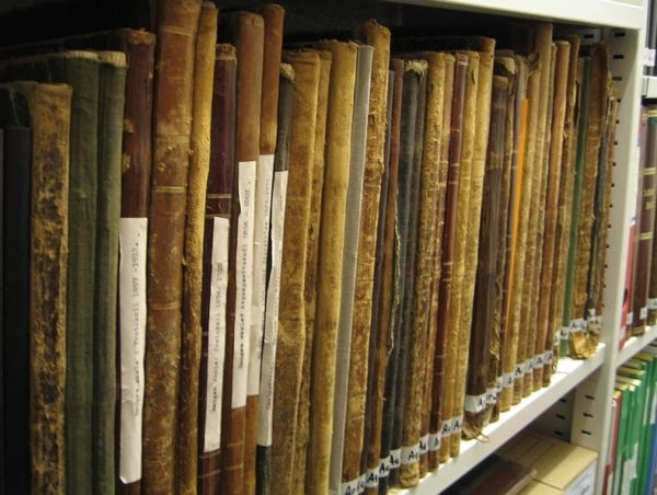 old files in leather bindings on a shelf